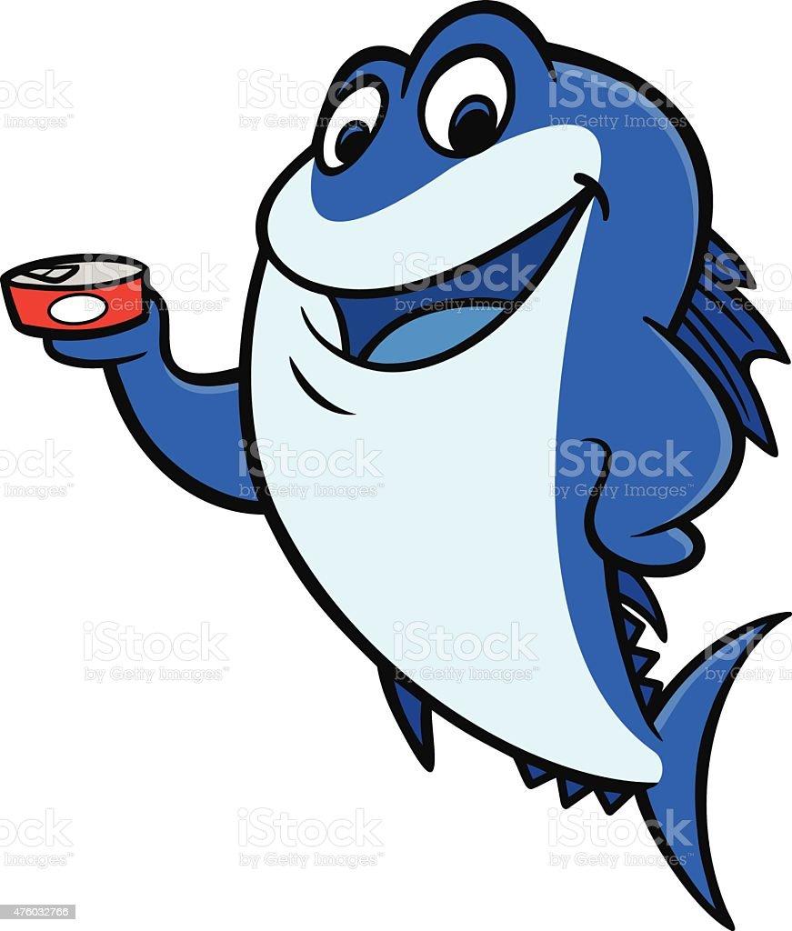 Tuna Fish holding a Can vector art illustration