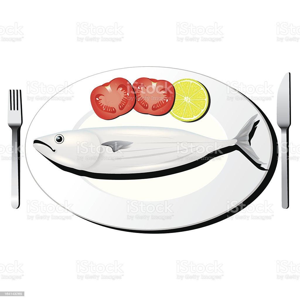 tuna fish with fork and knife vector royalty-free stock vector art