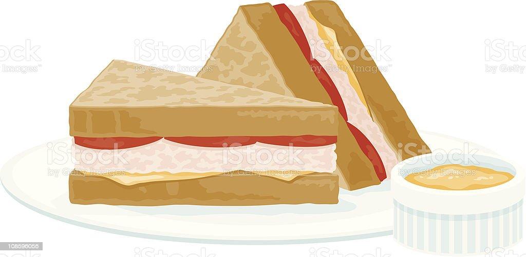 Tuna Melt Sandwich royalty-free stock vector art