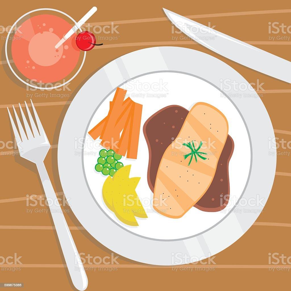 Tuna Steak and Cherry Soda vector art illustration