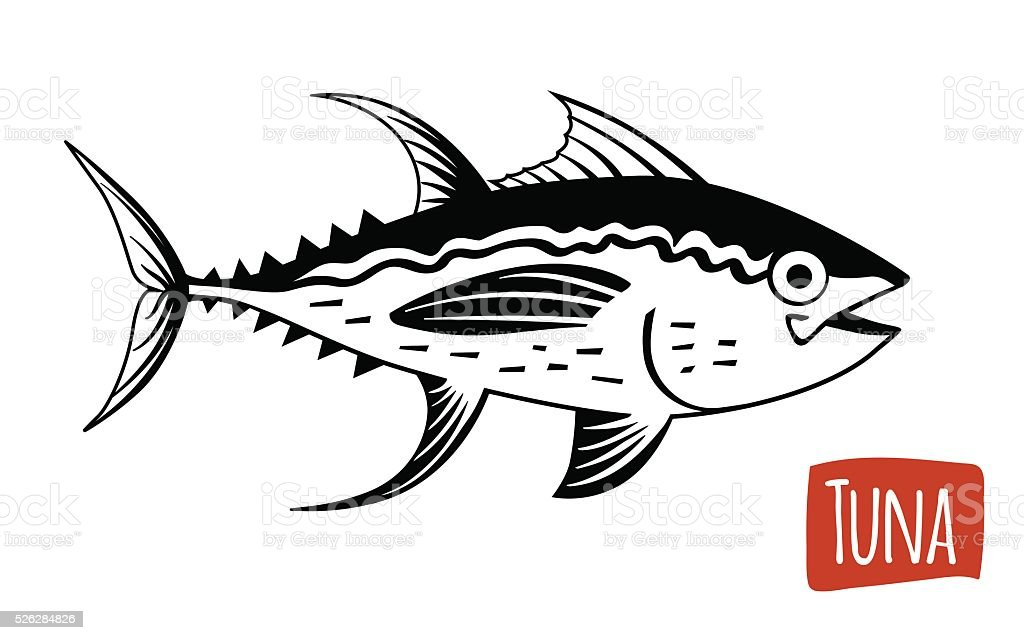 Tuna, vector cartoon illustration vector art illustration