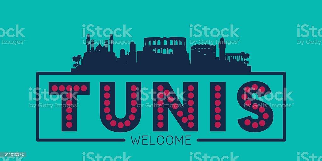 Tunis city skyline typographic illustration vector art illustration