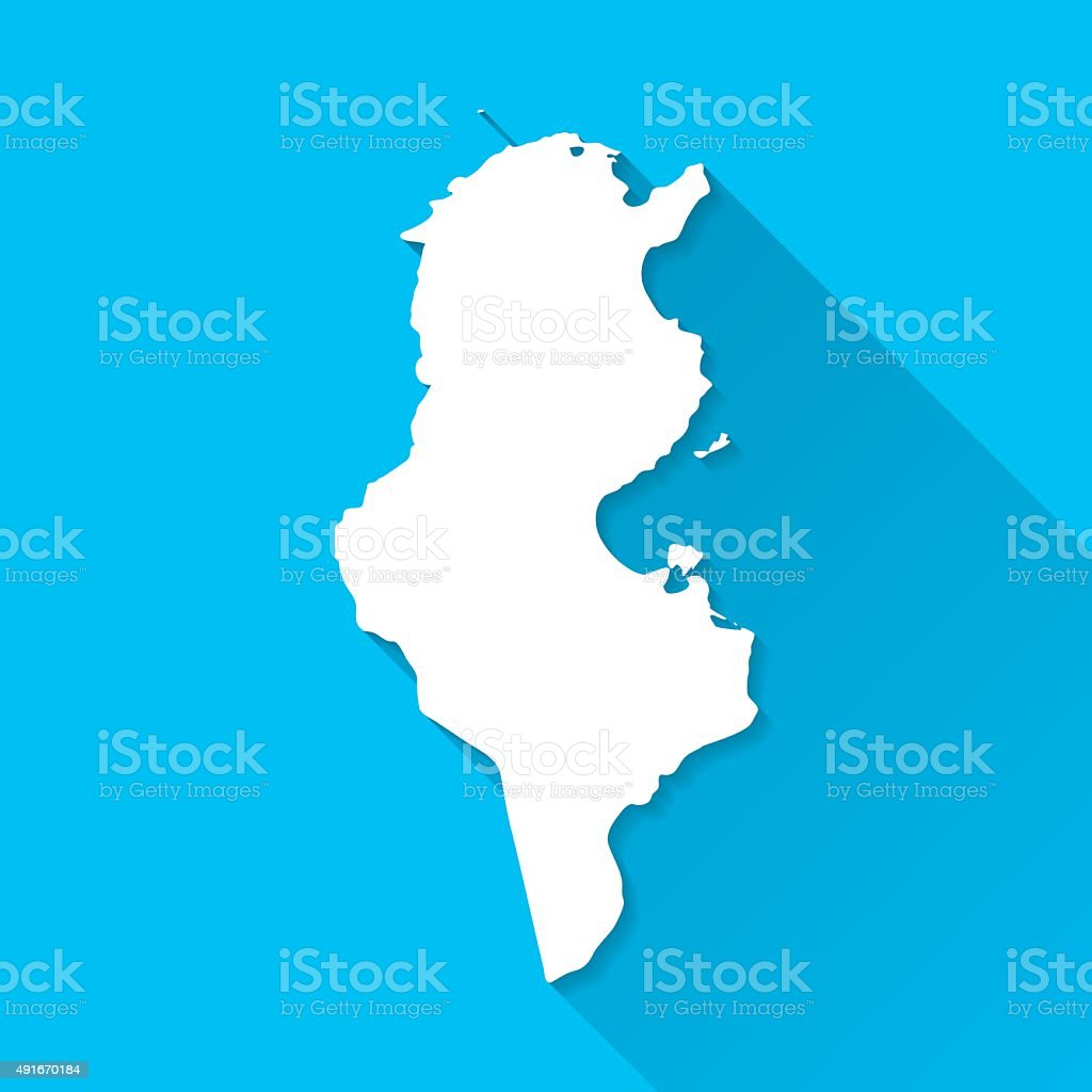 Tunisia Map on Blue Background, Long Shadow, Flat Design vector art illustration
