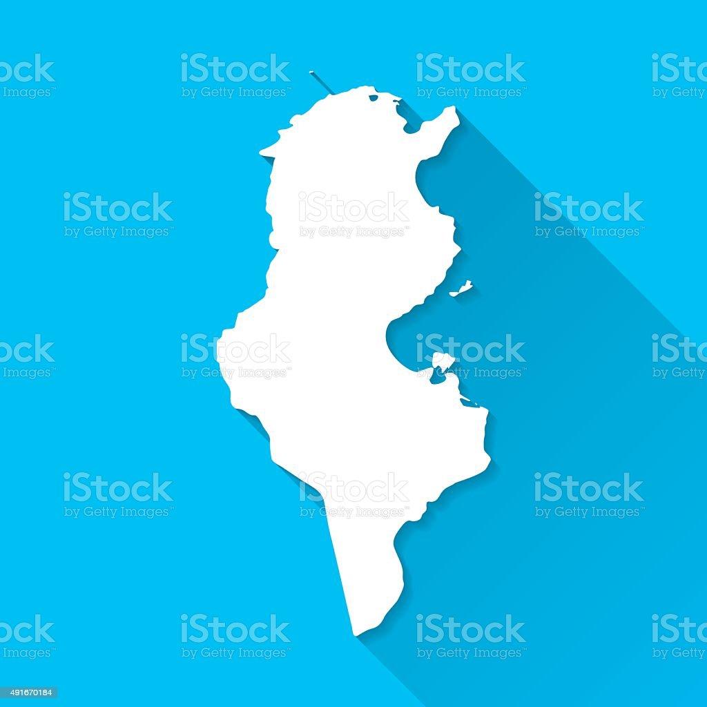 Tunisia Map on Blue Background, Long Shadow, Flat Design vector art illustration