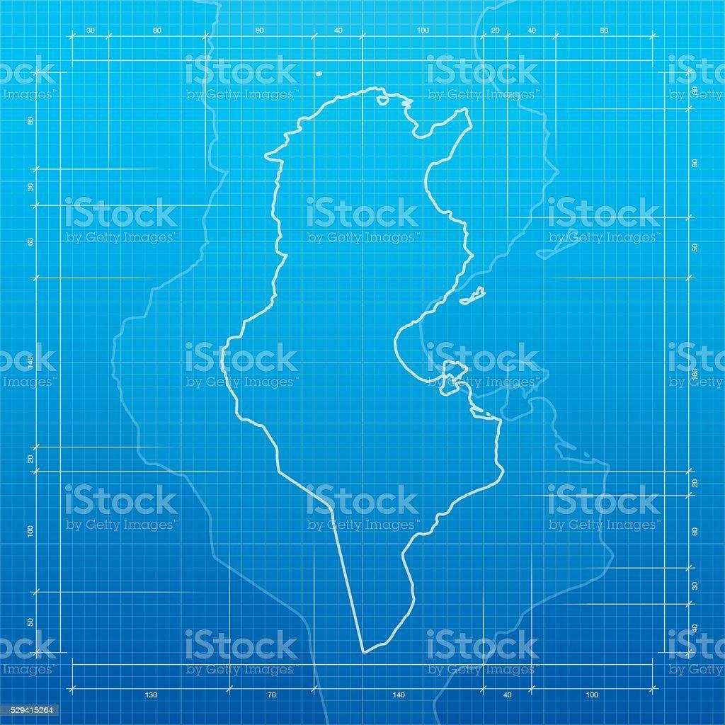 Tunisia map on blueprint background vector art illustration