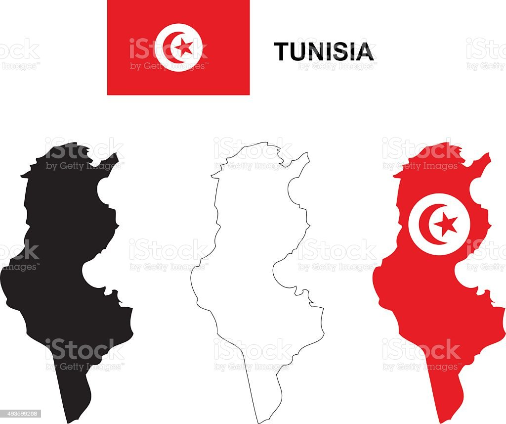 Tunisia map vector, Tunisia flag vector, isolated Tunisia vector art illustration