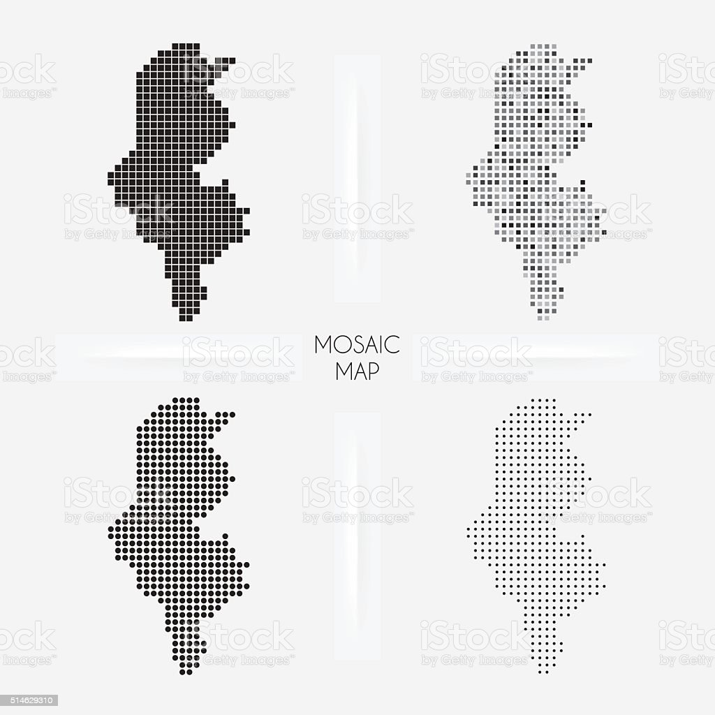 Tunisia maps - Mosaic squarred and dotted vector art illustration