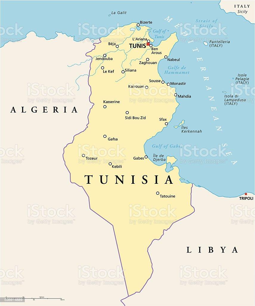 Tunisia Political Map vector art illustration