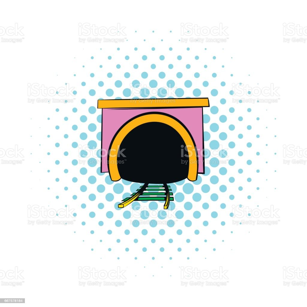 Tunnel icon in comics style vector art illustration