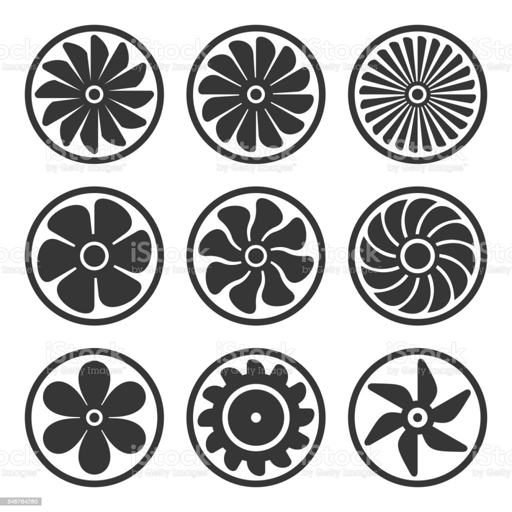 Turbines and Fan Icons Set. Turbojet Engine Power. Vector vector art illustration
