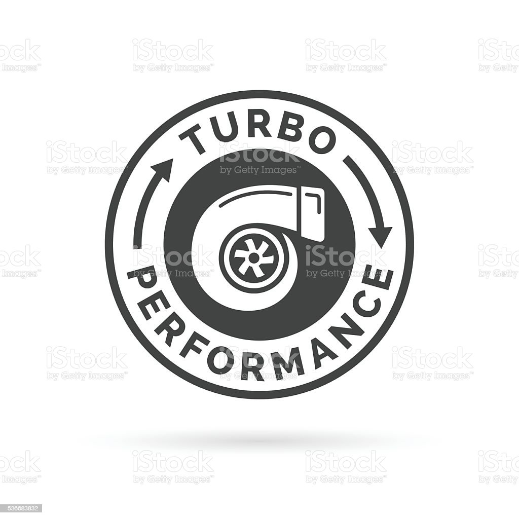Turbo performance icon badge with car turbocharger compressor stamp symbol. vector art illustration