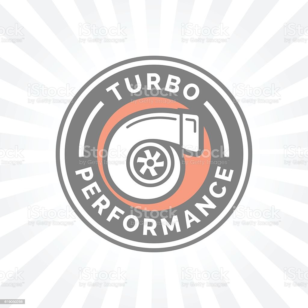 Turbo performance icon badge with car turbocharger compressor symbol. vector art illustration