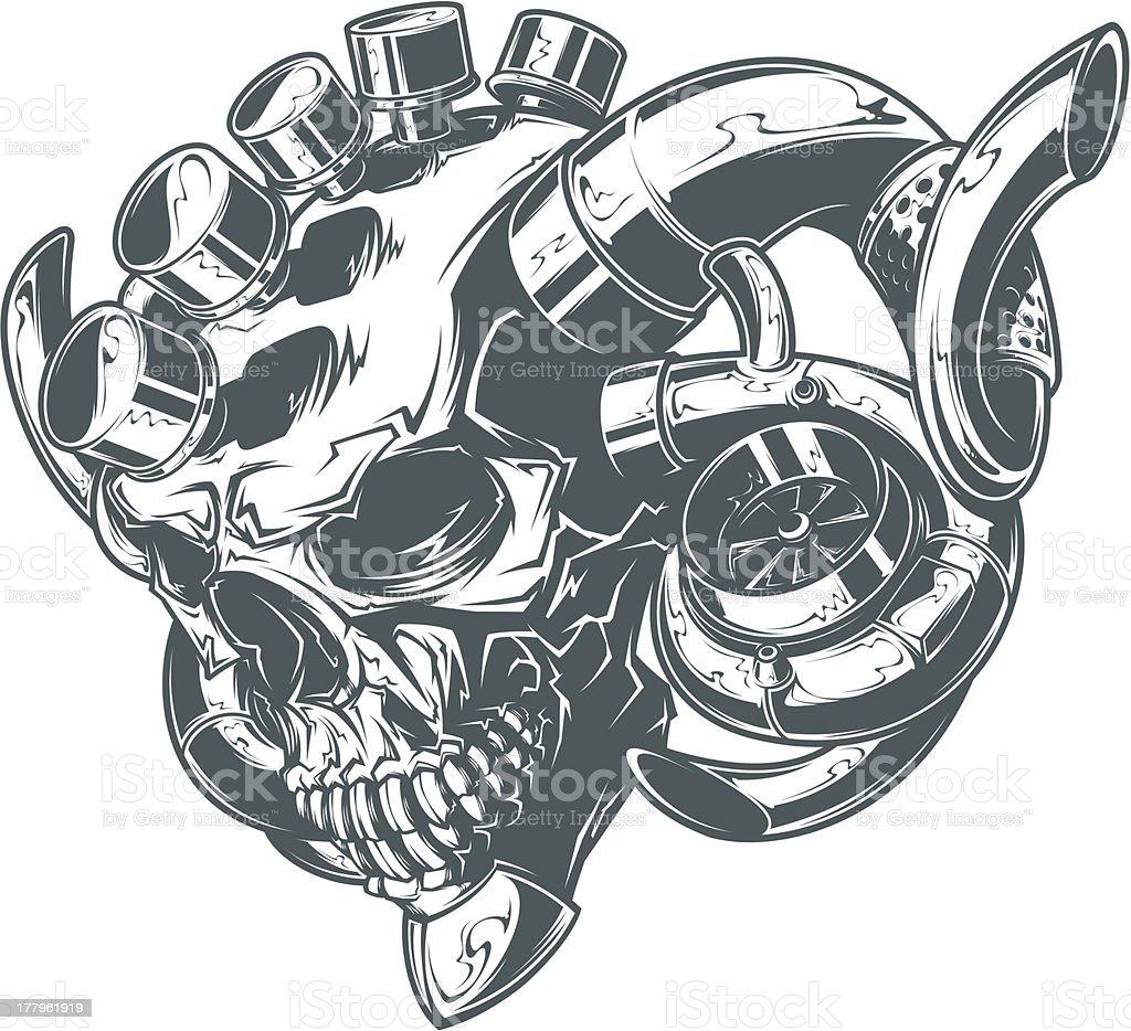 turbo skull vector art illustration