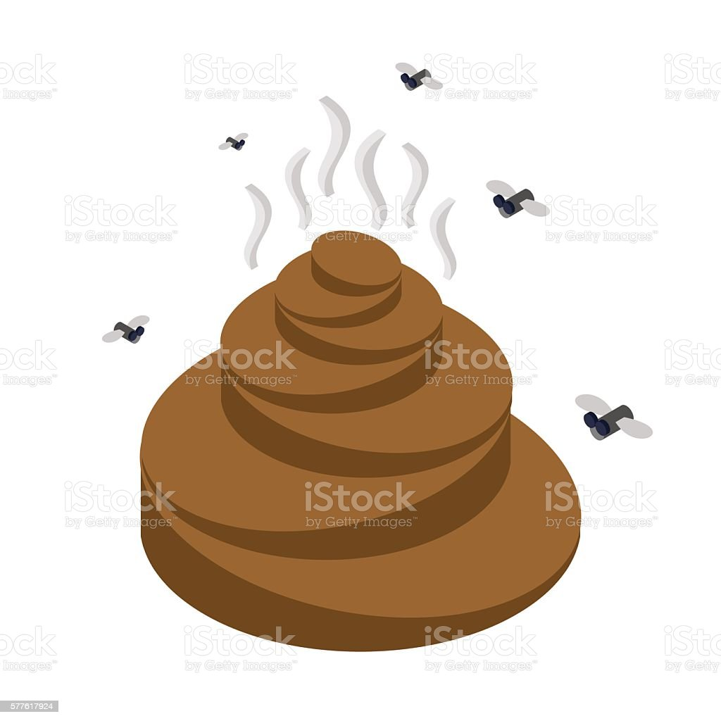 Turd isometrics. Flies and shit. Offensive feces on white backgr vector art illustration