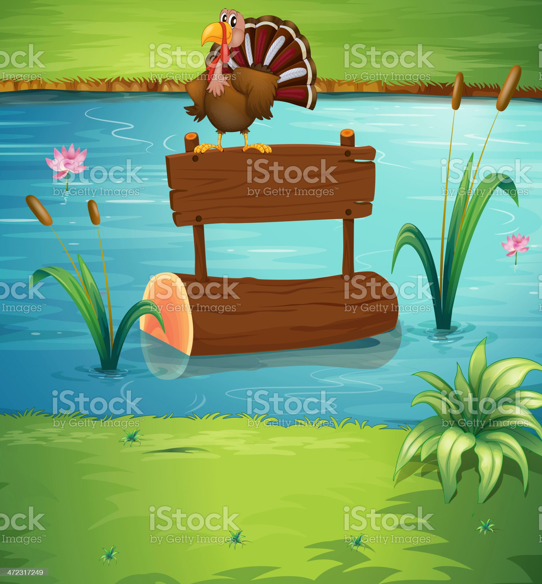 Turkey above a floating trunk at the river royalty-free stock vector art