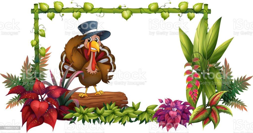 turkey above a trunk in the garden vector art illustration