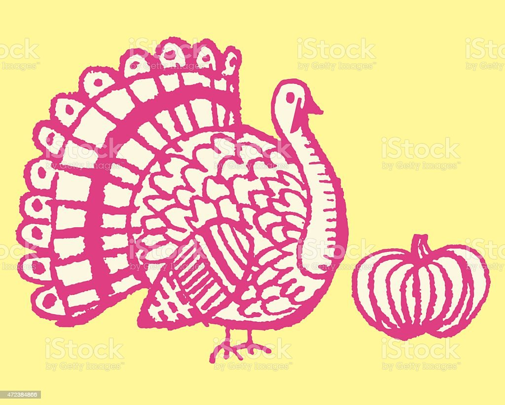 Turkey and Pumpkin vector art illustration