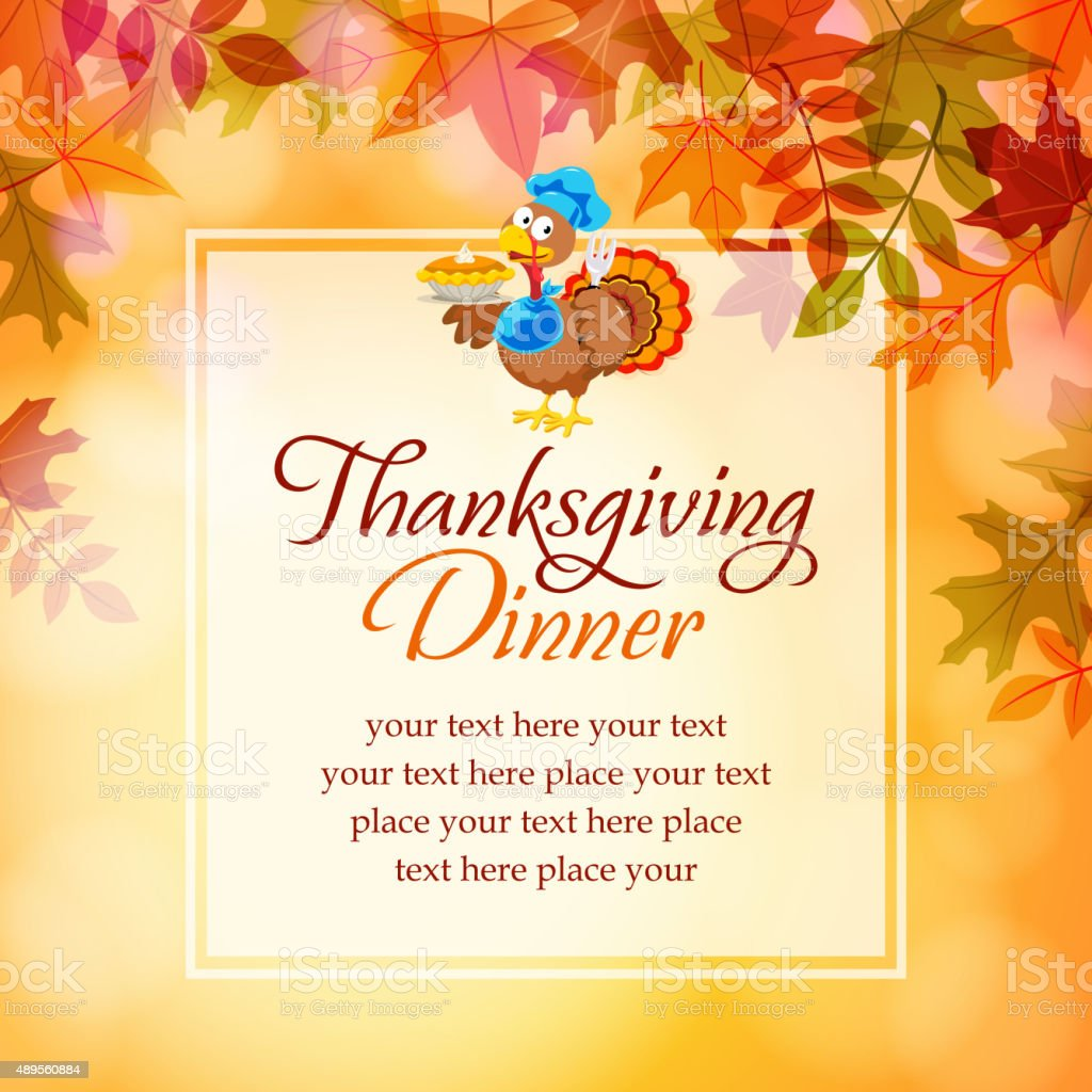 Turkey and pumpkins pie notice vector art illustration