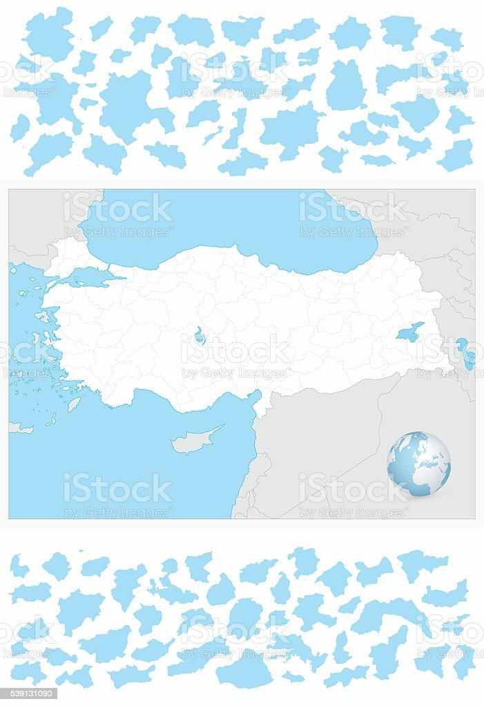 Turkey blank outline map and it's separated layers vector art illustration