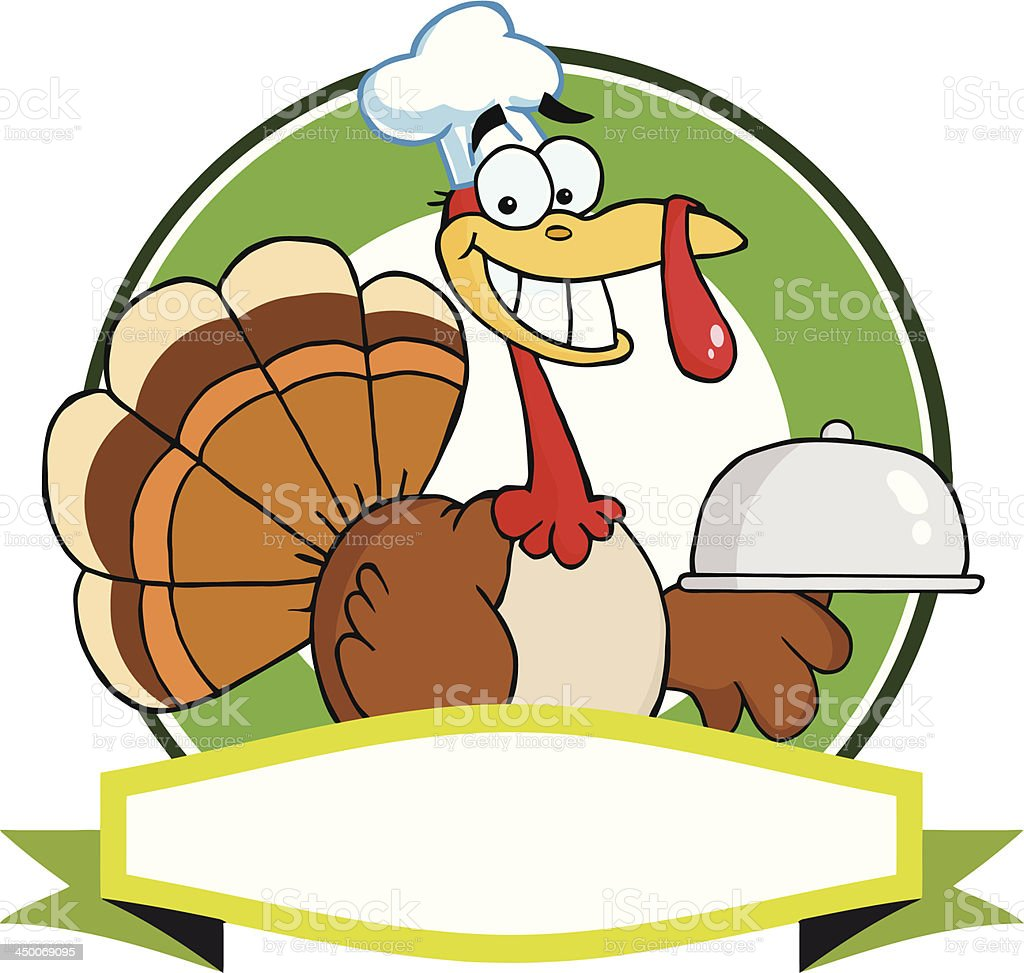 Turkey Chef Serving Platter Over Circle And Green Banner vector art illustration