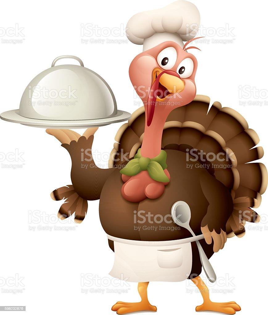 turkey chef vector art illustration