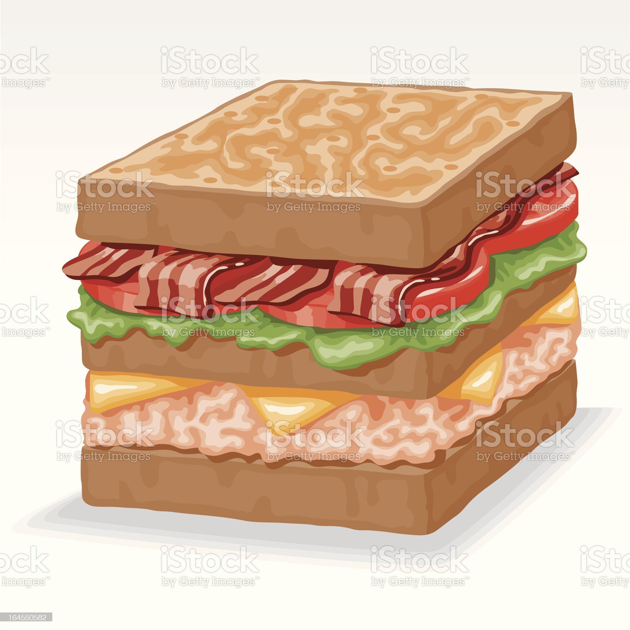 Turkey Club Sandwich royalty-free stock vector art