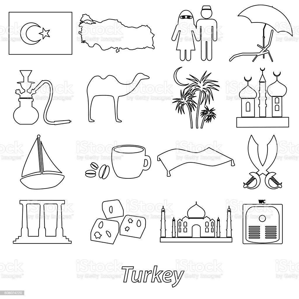 turkey country theme symbols outline icons set eps10 vector art illustration