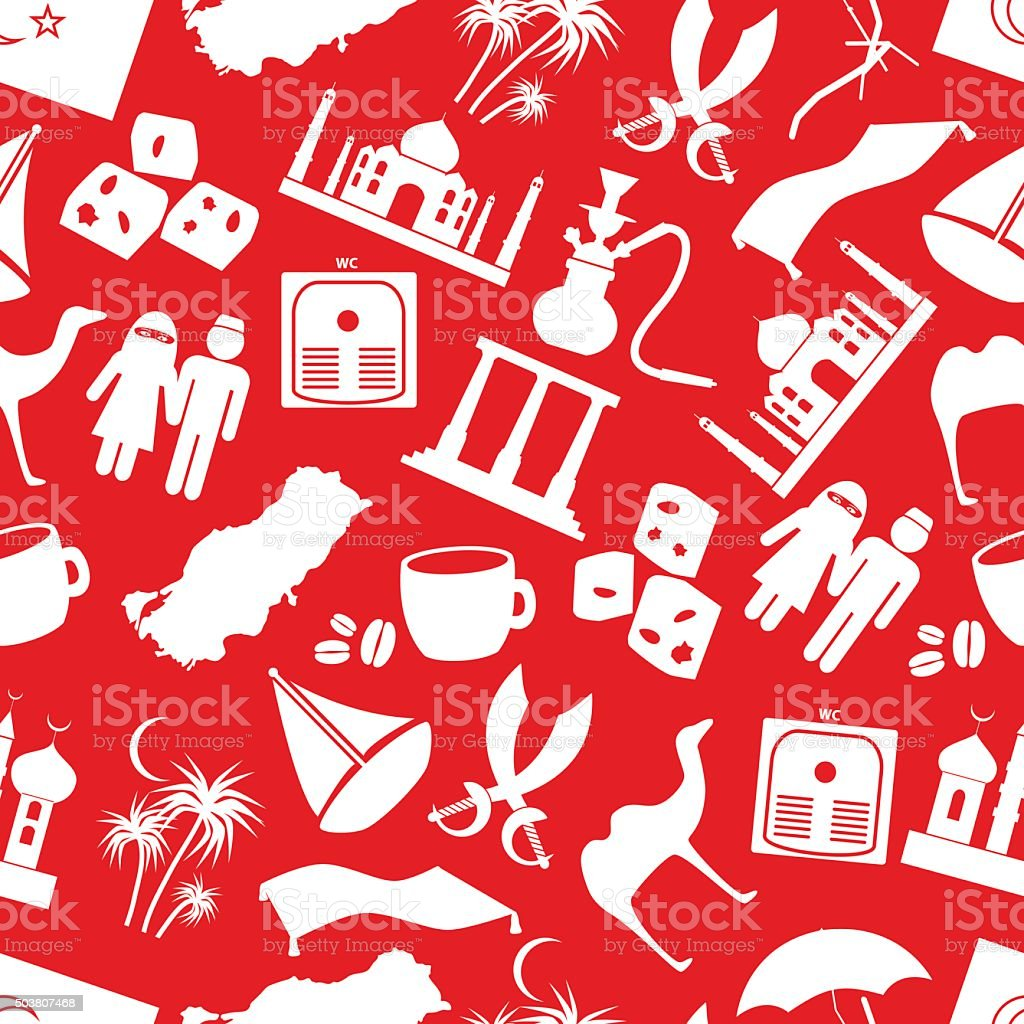 turkey country theme symbols seamless red pattern eps10 vector art illustration