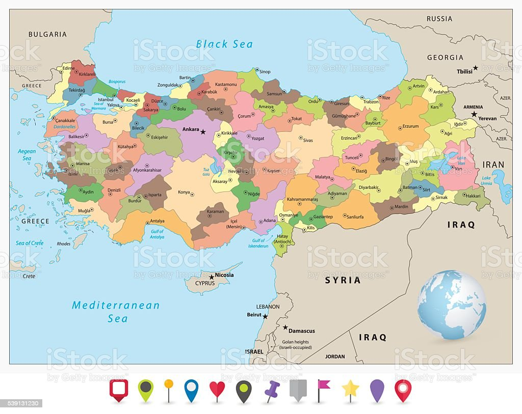 Turkey detailed administrative map and flat icon set vector art illustration