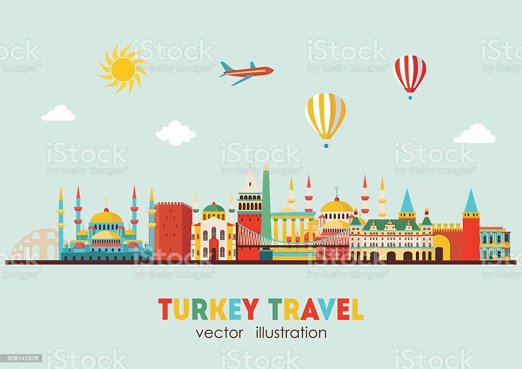Turkey famous landmarks skyline. Vector illustration vector art illustration