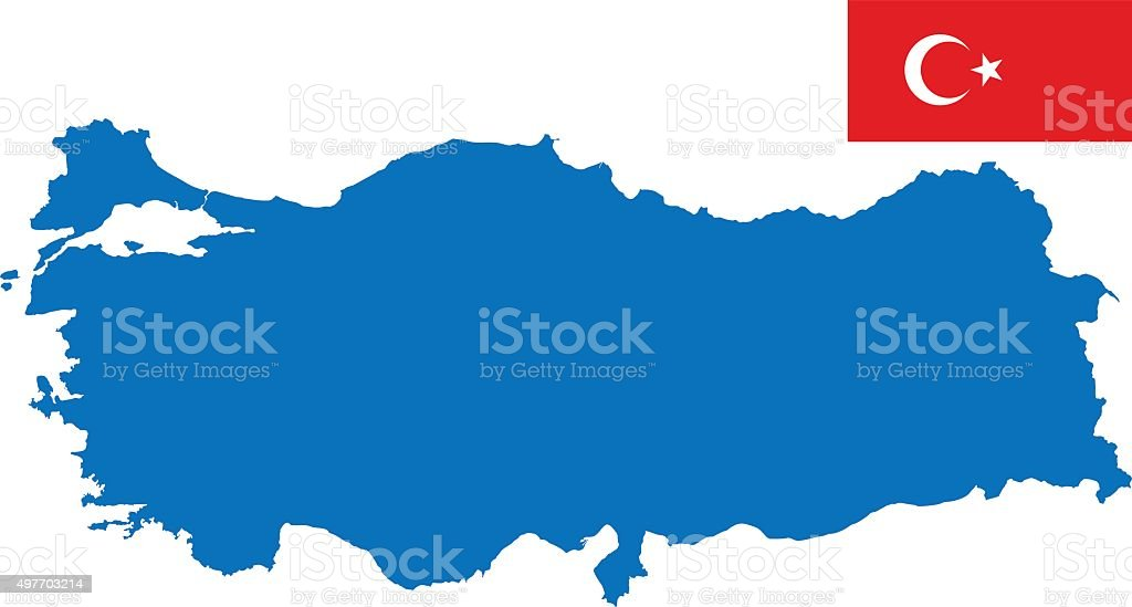 Turkey flag and map vector art illustration