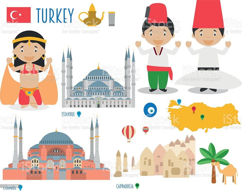Turkey Flat Icon Set Travel and tourism concept. Vector illustration vector art illustration