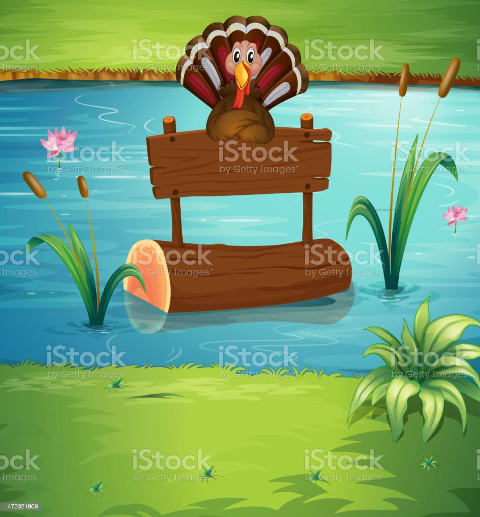 Turkey floating with the empty signage royalty-free stock vector art