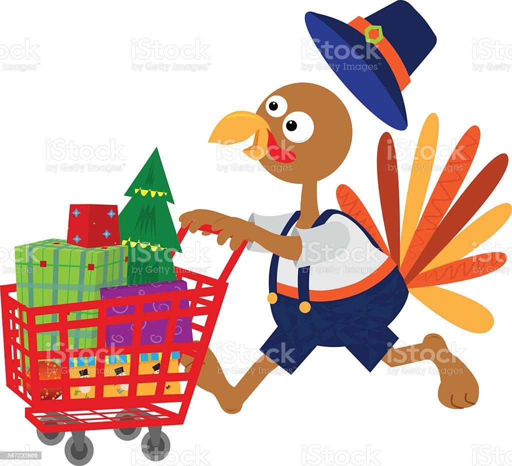 Turkey Goes Shopping vector art illustration