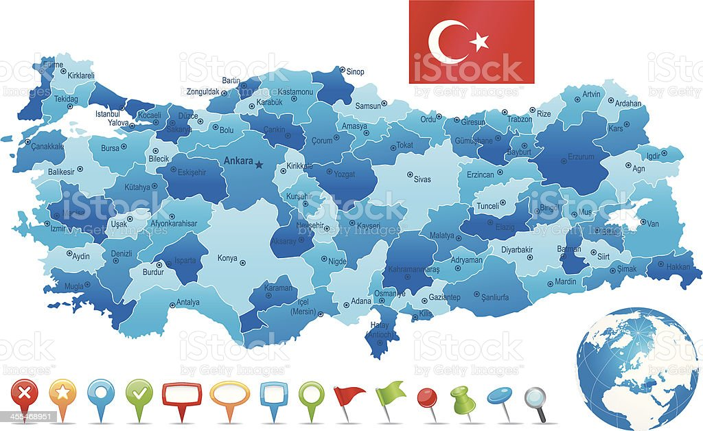 Turkey - highly detailed map royalty-free stock vector art