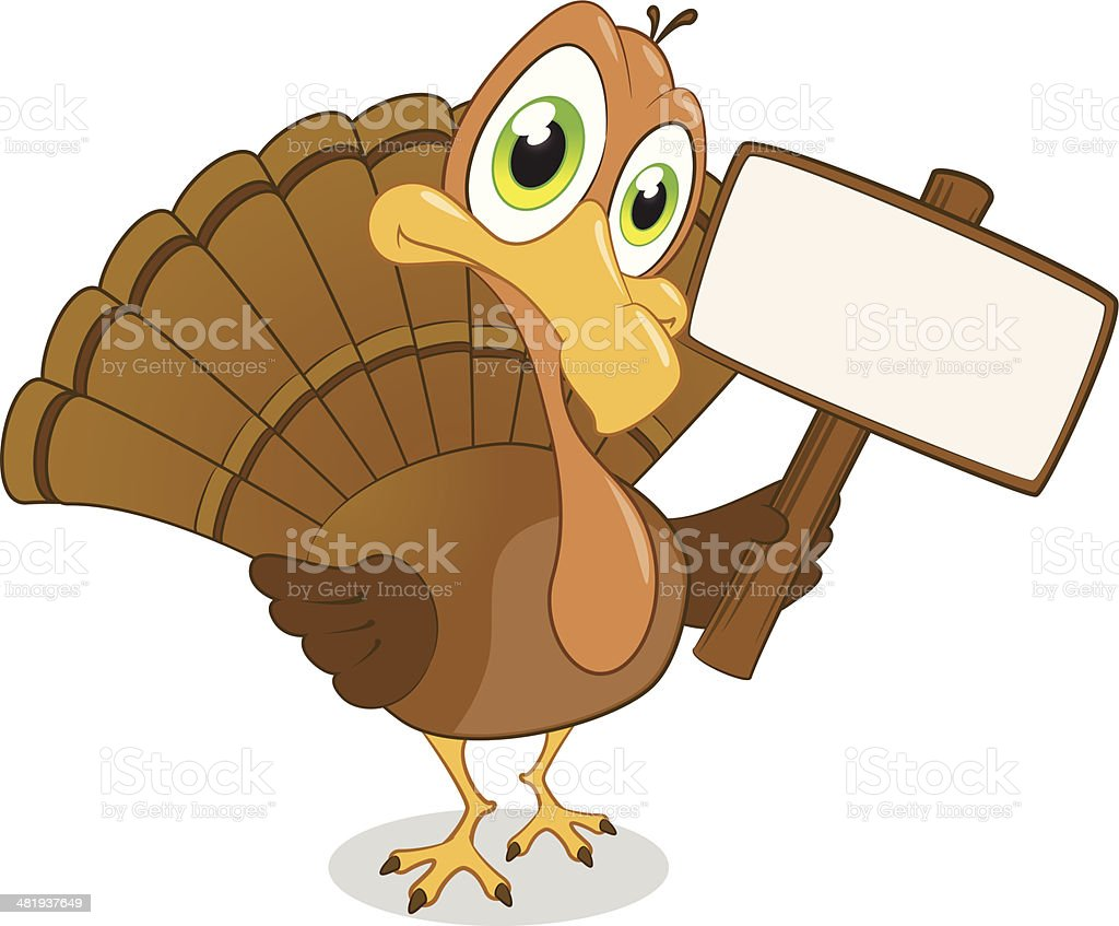 Turkey holding a blank sign royalty-free stock vector art