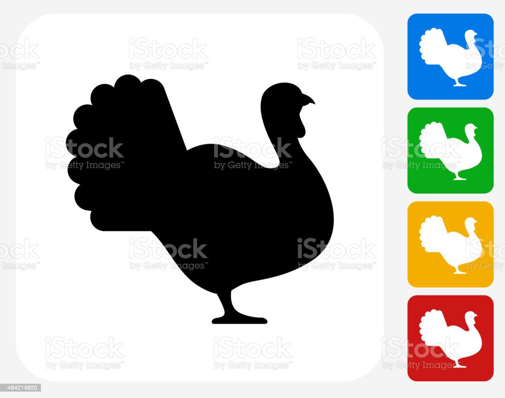 Turkey Icon Flat Graphic Design vector art illustration