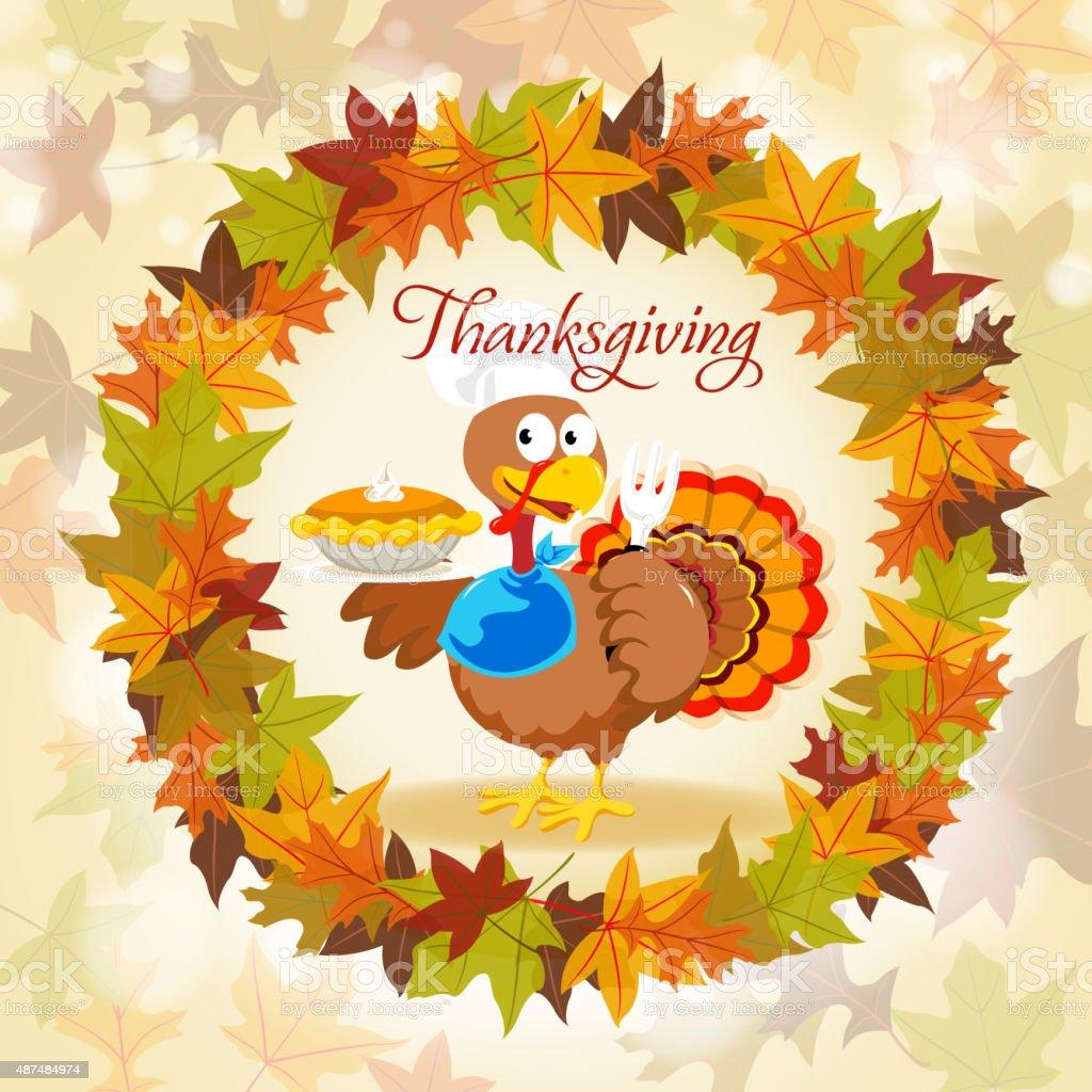Turkey in autumn wreath vector art illustration