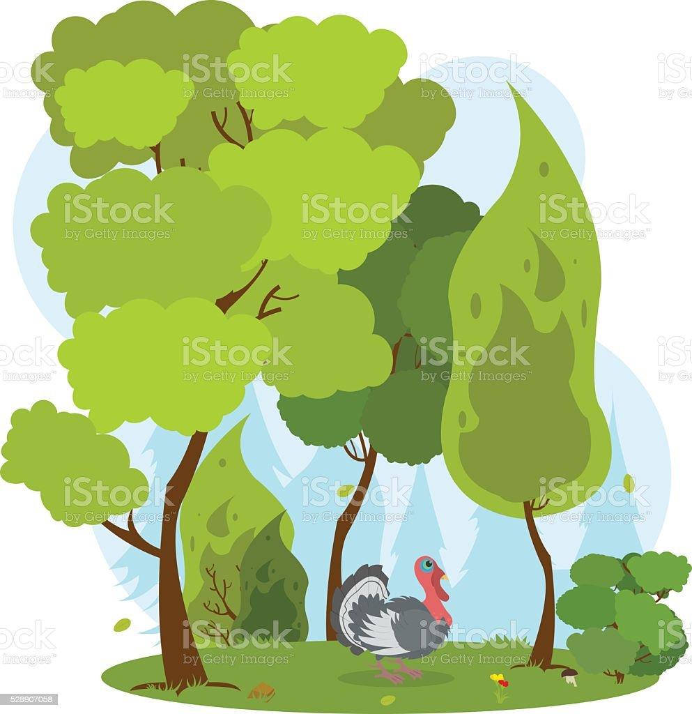 turkey in the forest. vector art illustration