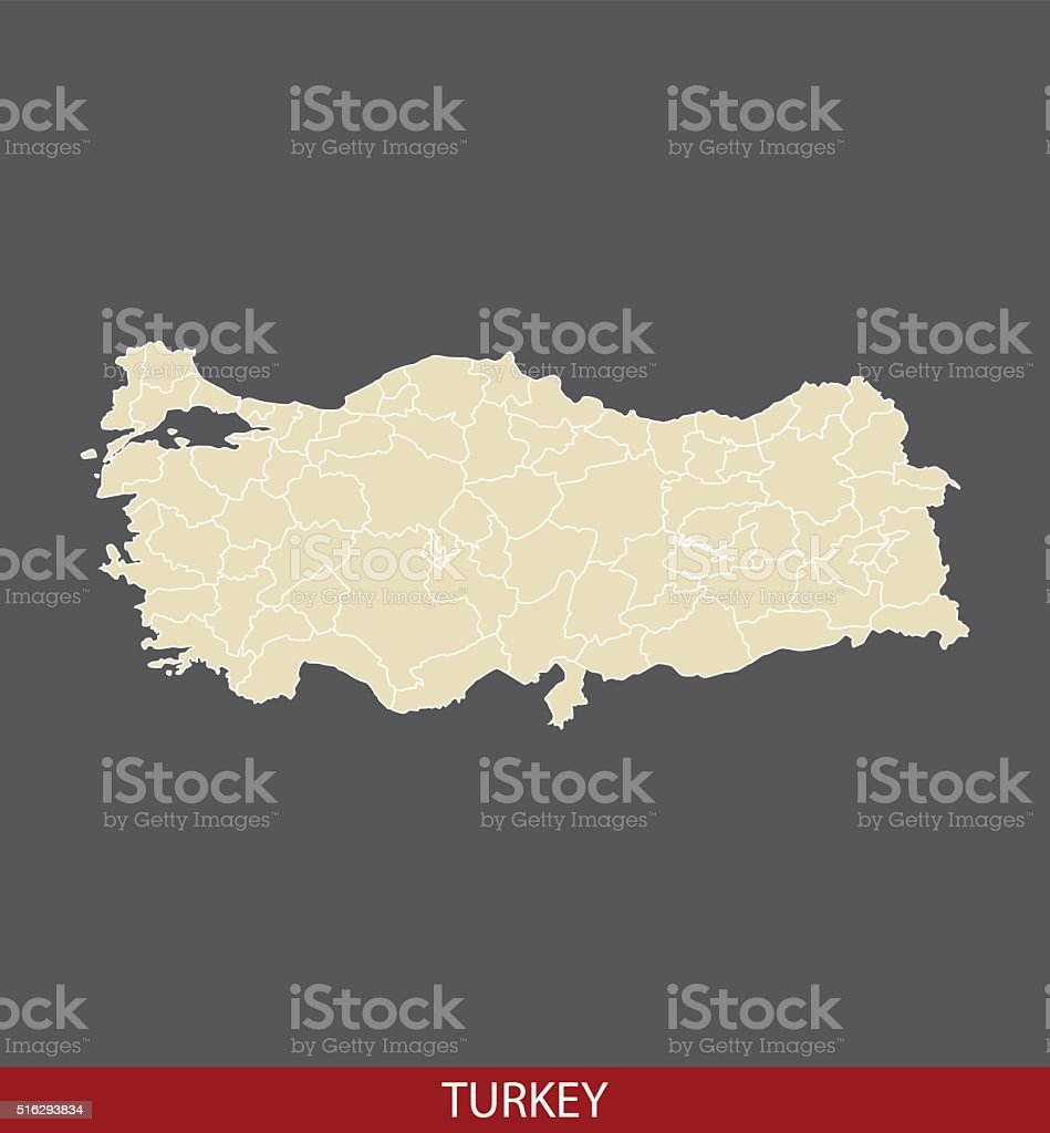 Turkey map outline vector in gray background vector art illustration