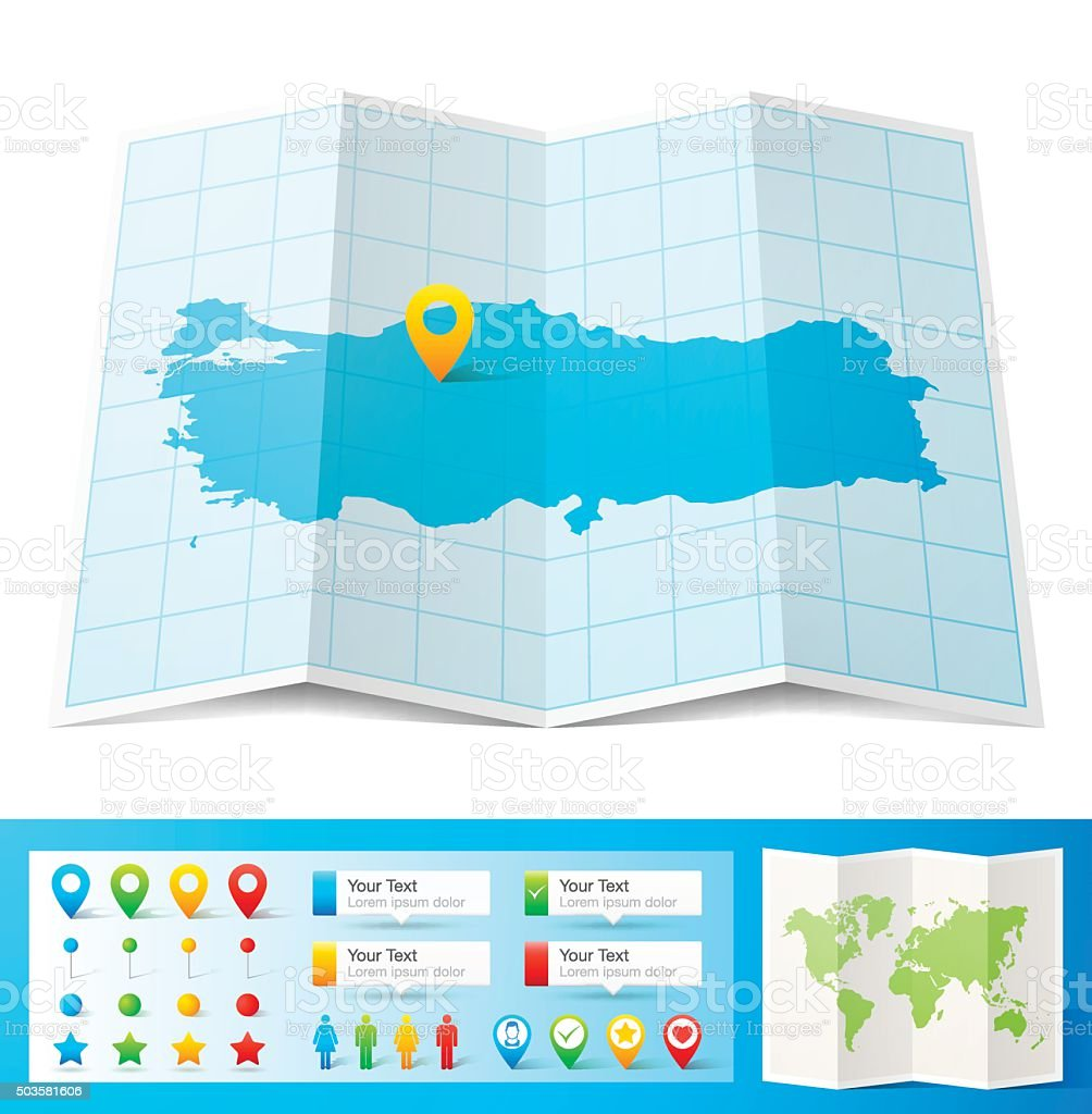 Turkey Map with location pins isolated on white Background vector art illustration
