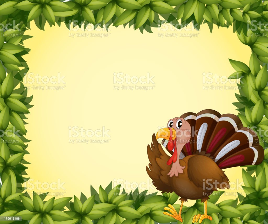 Turkey on a leafy frame royalty-free stock vector art