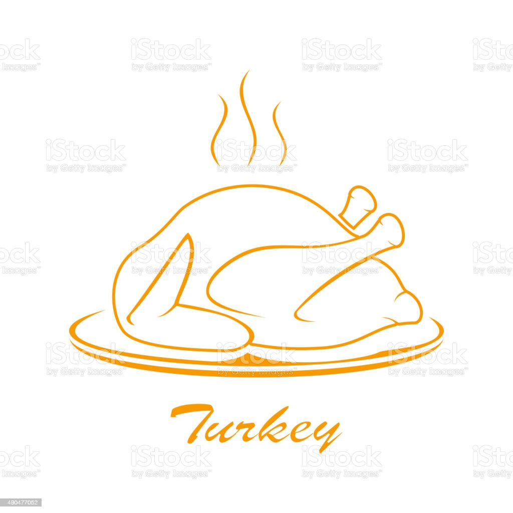 Turkey on plate vector art illustration
