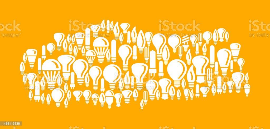 Turkey on Vector Lightbulb Pattern Background vector art illustration