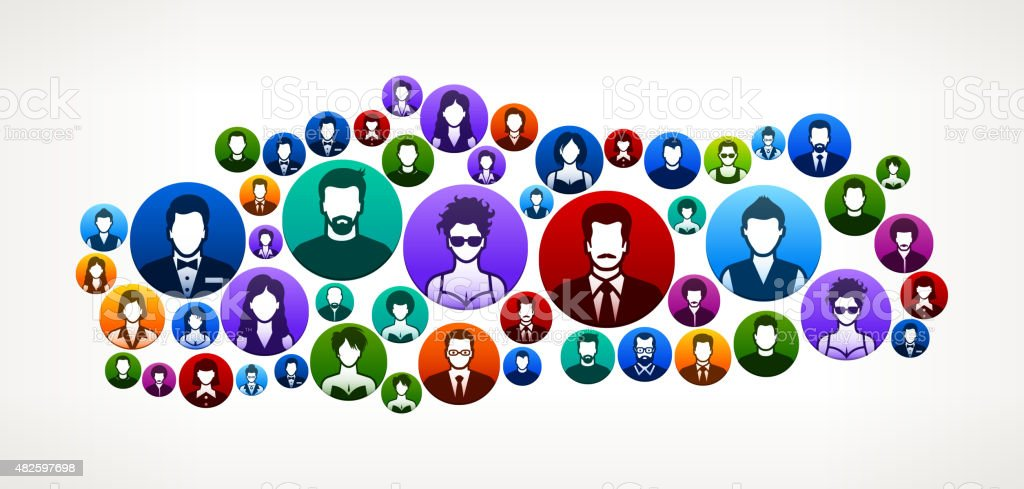 Turkey People Faces Community and Communication Pattern. vector art illustration