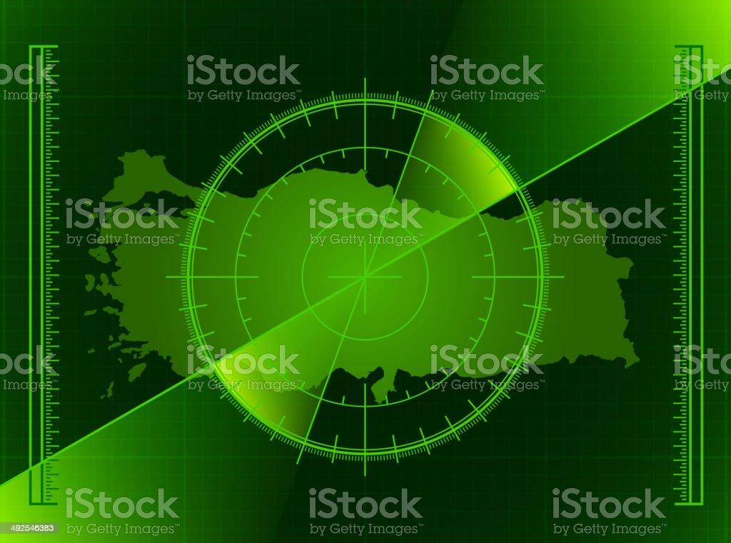 Turkey Radar World Map royalty free vector art royalty-free stock vector art
