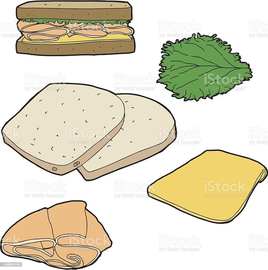 Turkey Sandwich vector art illustration