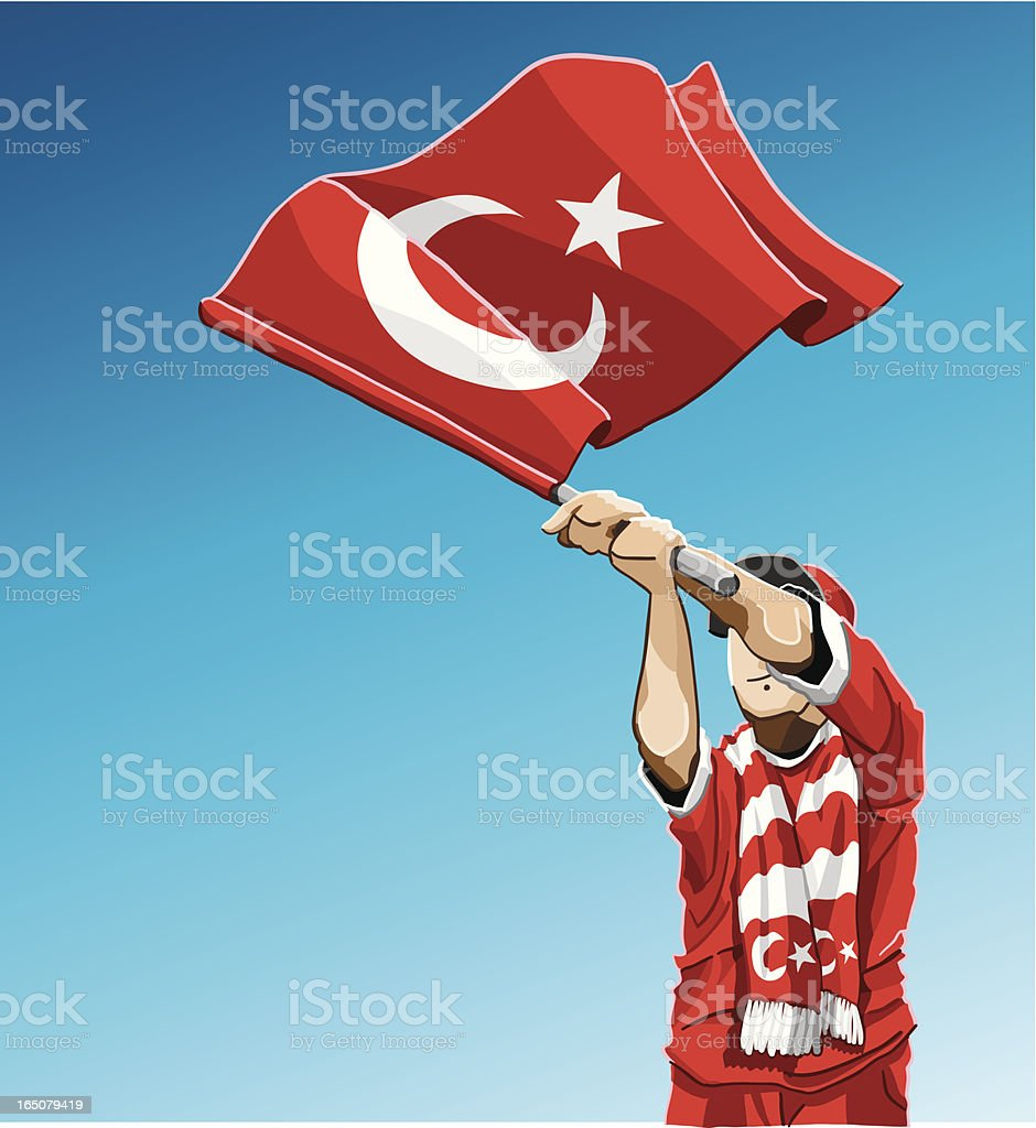 Turkey Waving Flag Soccer Fan royalty-free stock vector art