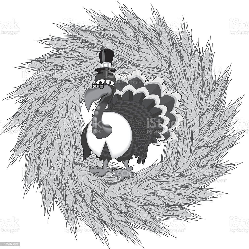 Turkey Wheat Wreath royalty-free stock vector art