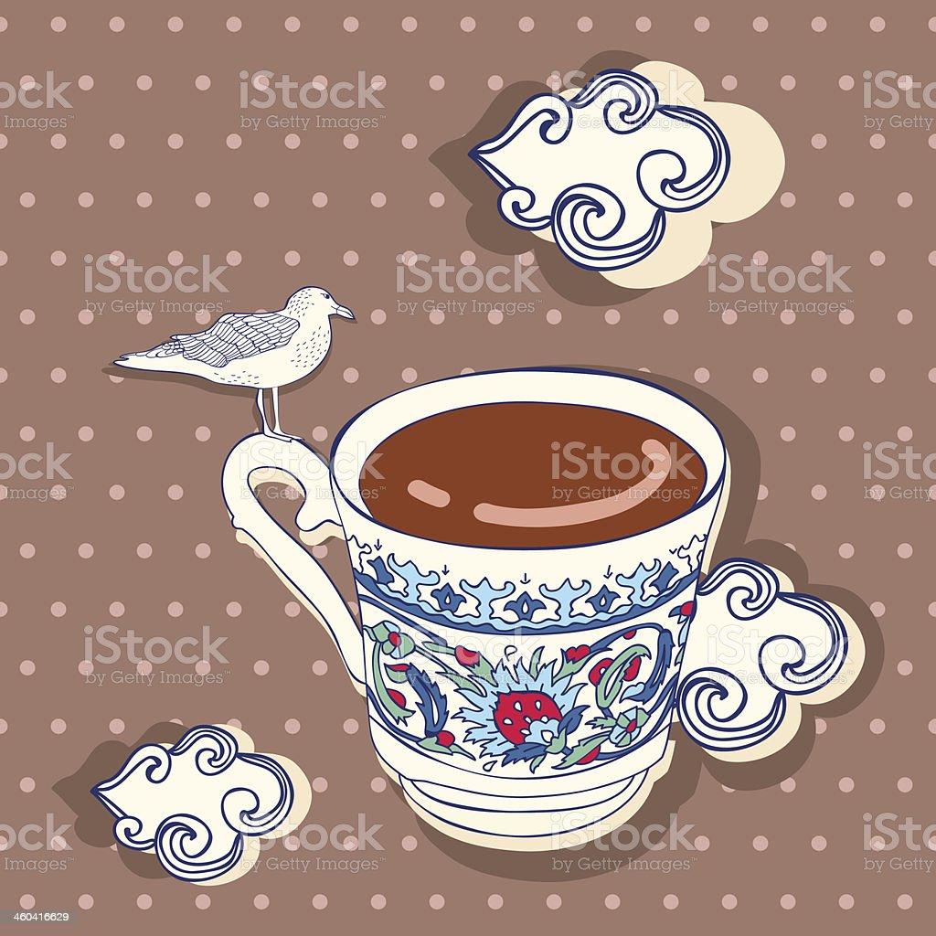 Gaviota taza de café turco y las nubes. illustracion libre de derechos libre de derechos